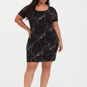 TORRID Black Marble Challis T-Shirt Dress (New!)
